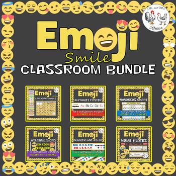 Emoji Classroom Bundle - Calendar, Name Plates, Hundreds, Etc. Emoji Theme Decor