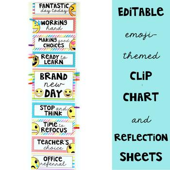 Emoji Classroom Decor: Behavior Clip Chart and Reflection Sheets