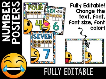 Emoji Classroom Decor: Editable Number Posters