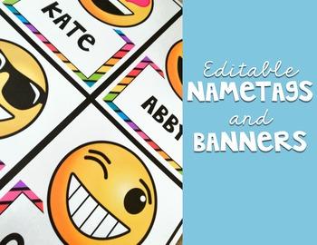 Emoji Classroom Decor {Name Tags and Banner}
