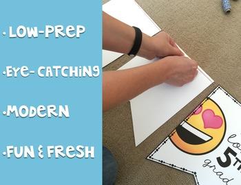 Emoji Classroom Decor: Name Tags and Banner