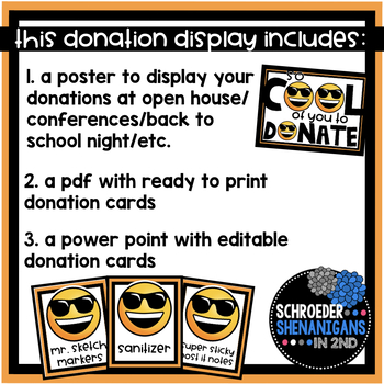 Emoji Classroom Donation Display editable