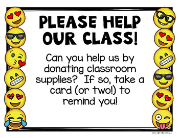 Emoji Classroom Donation Kit - Editable
