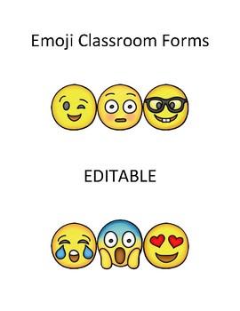 Emoji Classroom Forms Bundle *EDITABLE*