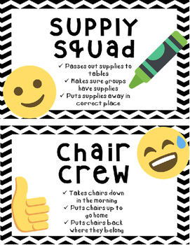 Emoji Classroom Job Crews and Teams-Editable