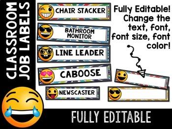Emoji Classroom Decor: Editable Classroom Job Labels