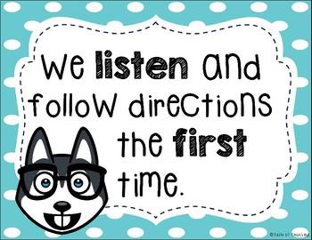 Emoji Classroom Rules Posters- Husky