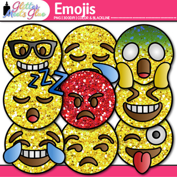 Emoji Clip Art   Emoticons and Smiley Faces for Task Cards & Classroom Decor