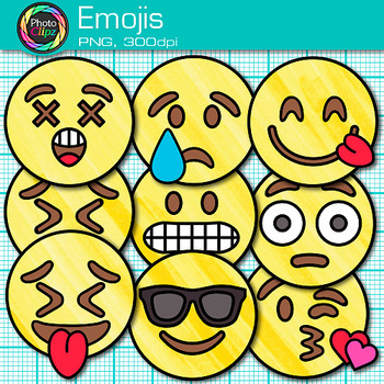 Emoji Clip Art {Emoticons and Smiley Faces for Brag Tags & Classroom Decor}