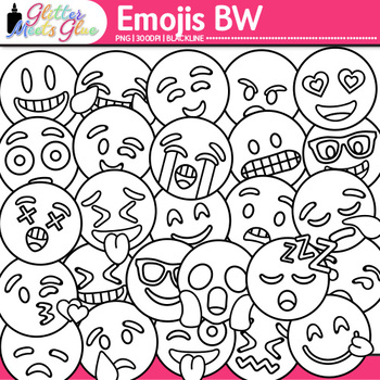 Emoji Clip Art {Emoticons and Smiley Faces for Worksheets & Handouts} B&W