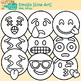 Emoji Clip Art | Emoticons and Smiley Faces for Worksheets & Handouts | B&W