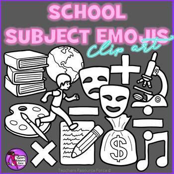 Emoji Clip Art: School Subject Themed Emojis