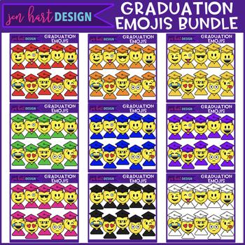 Emoji Clip Art Rainbow Graduation BUNDLE {jen hart Clip Art}