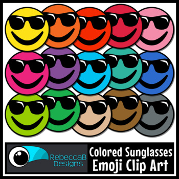 Emoji Clip Art: Sunglasses Emoji Faces, Sunglasses Emoji Colors