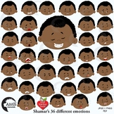 Emoji, Multicultural Emoticons, African American Boy Feelings Clipart, AMB-2331