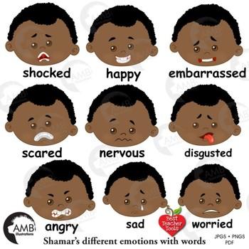 Emoji, Multicultural Emoticons, African American Boy Feelings Clipart, AMB-2331
