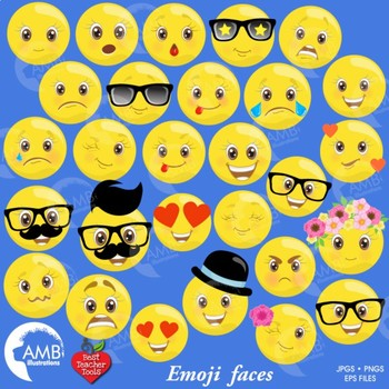 Emoji Clipart, Emoticons Clipart, Smiley Face, Feelings Clipart,  AMB-2250