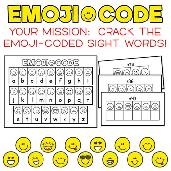 Emoji Code Dolch Sight Words: First Grade Dolch Words - Crack the Emoji Code!