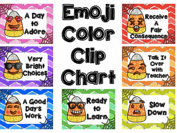 Emoji Color Clip Chart for Behavior Management - Candy Corn