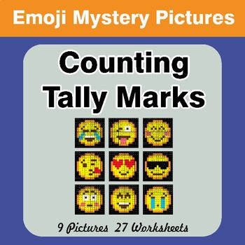 Emoji: Counting Tally Marks - Math Mystery Pictures / Color By Number