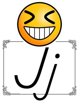 Emoji D'Nealian Alphabet Line ~ Color/Black and White