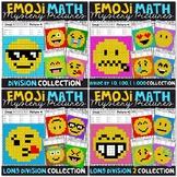 Emoji DIVISION Math Mystery Pictures Bundle | Division Color by Number Bundle