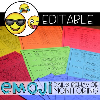 Emoji Daily Behavior Monitoring Form ( 6 editable versions )