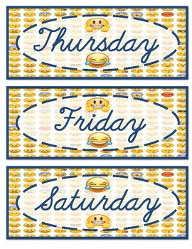 Emoji Days of the week and months of the year in cursive