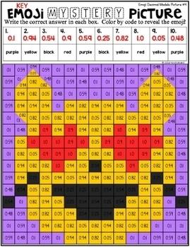 Emoji Decimal Models Mystery Pictures | Decimals Color by Number