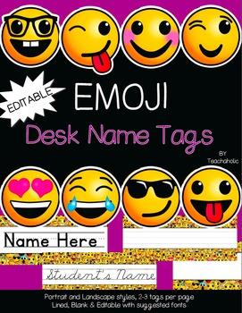 Emoji Desk Tag Set - Classroom Decor: EDITABLE