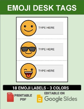 Emoji Desk Tags (Editable on Google Slides)