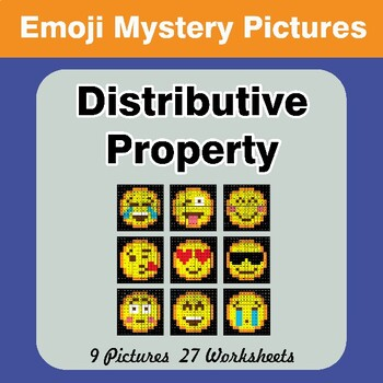Emoji: Distributive Property - Math Mystery Pictures / Color By Number