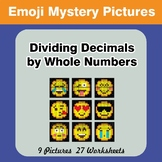 Emoji: Dividing Decimals by Whole Numbers - Math Mystery Pictures