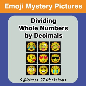 Emoji: Dividing Whole Numbers by Decimals - Math Mystery Pictures