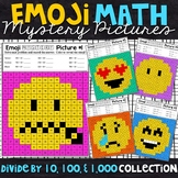 Emoji Dividing by 10, 100, and 1,000 Mystery Pictures