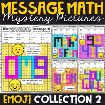 Emoji Division Mystery Pictures - Message Math
