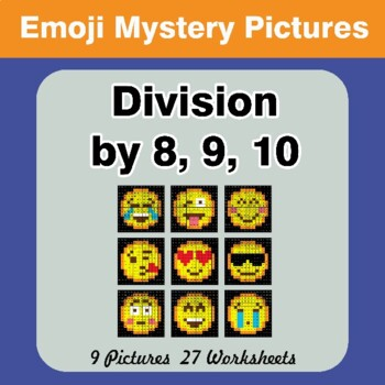Emoji: Division by 8 / Division by 9 / Division by 10 - Math Mystery Pictures