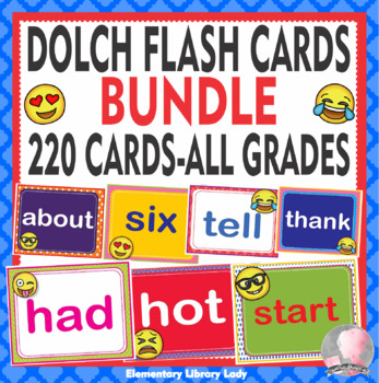 Emoji Dolch Sight Words Flash Cards, Letters and Numbers - BUNDLE 220 words