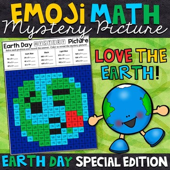 Emoji Earth Day Mystery Picture | 2 and 3 Digit by 1 Digit Multiplication