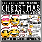 EDITABLE Christmas Coupons Book Gift Tags Student - Emoji Theme Christmas Tags