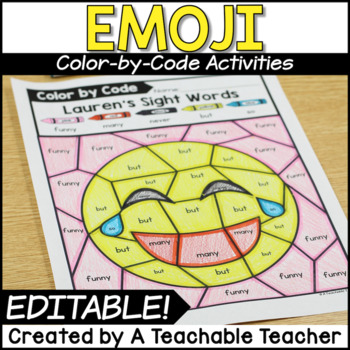 Emoji Editable Color by Code | Color by Sight Words Editable