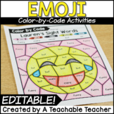 Emoji Editable Color by Code | Color by Sight Words Editable