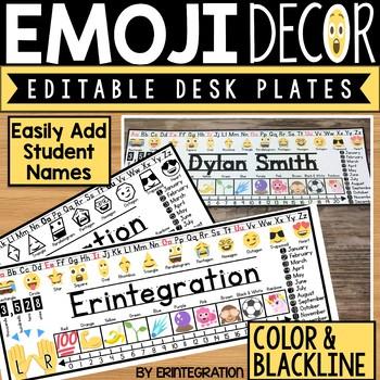 Emoji Editable Desk Plates