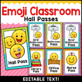 Emoji Theme Classroom Decor Editable Hall Passes