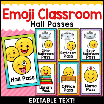 Emoji Theme Classroom Decor Editable Hall Passes