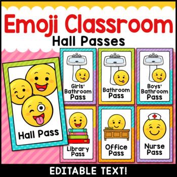 Emoji Classroom Decor Editable Hall Passes