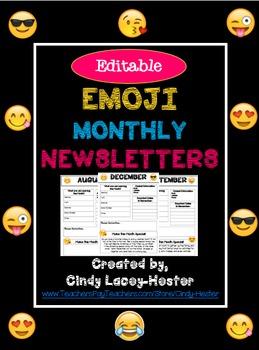 Emoji Editable Monthly Newsletter