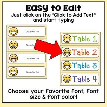 Editable Emoji Name Tags and Desk Plates
