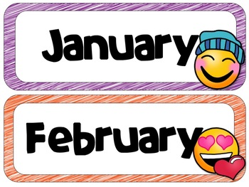 Emoji/Emoticon Calendar Headers  Months and Days of the Week