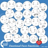 Emoji, Emoticons, Feelings Outline, Stamps, Clipart, AMB-2344